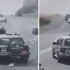 БМП ҳарбий машинаси енгил автомобиль устига чиқиб кетди (Видео)