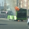 Паркент бозори атрофида яна бир Mercedes-Benz автобуси ёнди (фото, видео)