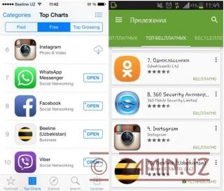 Beeline Uzbekistan App Store ва Google Play бепул иловаларининг ўнталигида