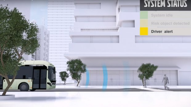 Volvo автобуслари пиёдаларга мустақил тарзда сигнал чалади