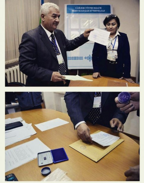 Ўзбекистон президентлик сайлови бюллетенлари саналмоқда