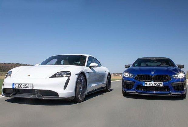 BMW М8 ва Porsche Taycan пойга трассасида дуэль уюштирди (видео)