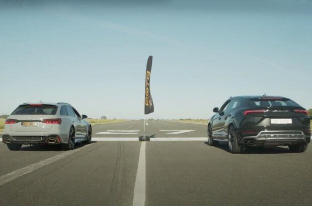 Lamborghini ва Audi тезлик борасида куч синашди (видео)